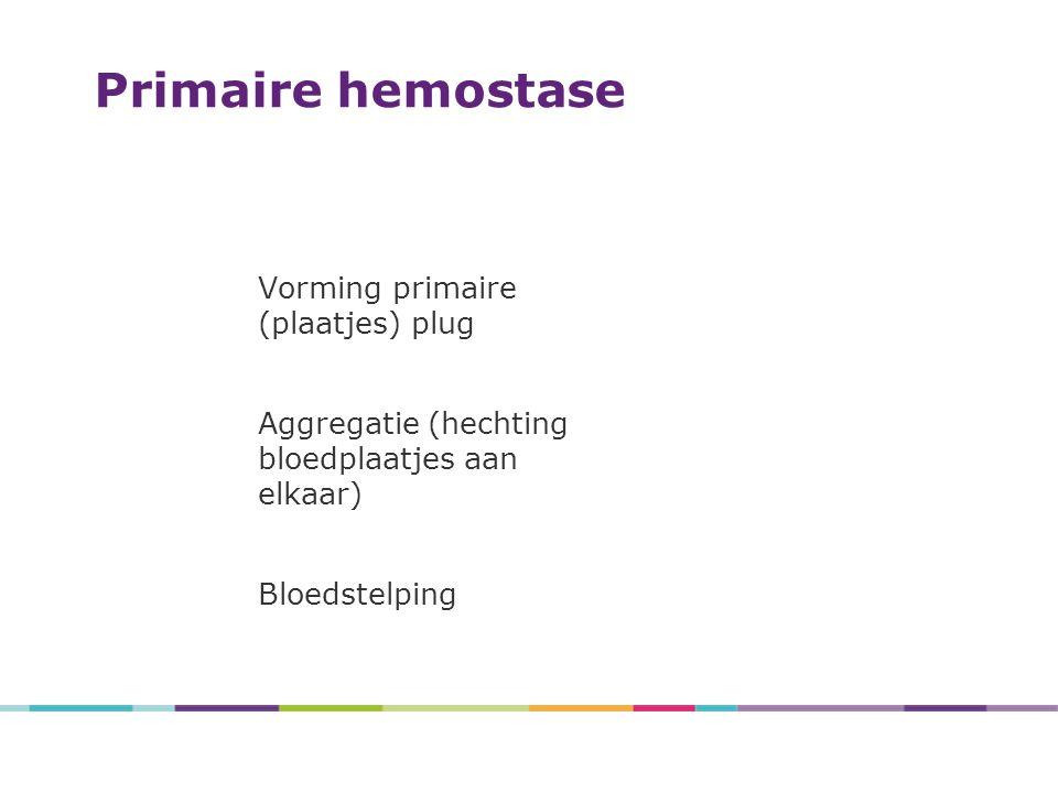 Primaire hemostase Vorming primaire (plaatjes) plug