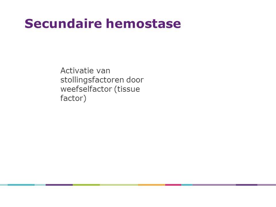 4/27/2017 Secundaire hemostase. Activatie van stollingsfactoren door weefselfactor (tissue factor)