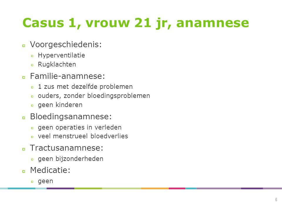 Casus 1, vrouw 21 jr, anamnese