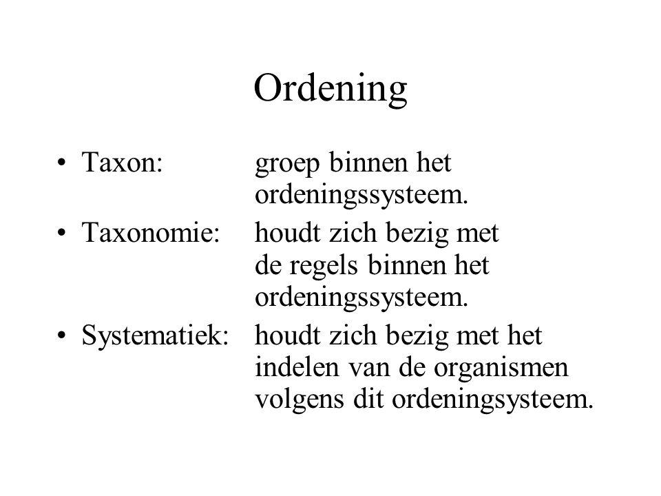 Ordening Taxon: groep binnen het ordeningssysteem.
