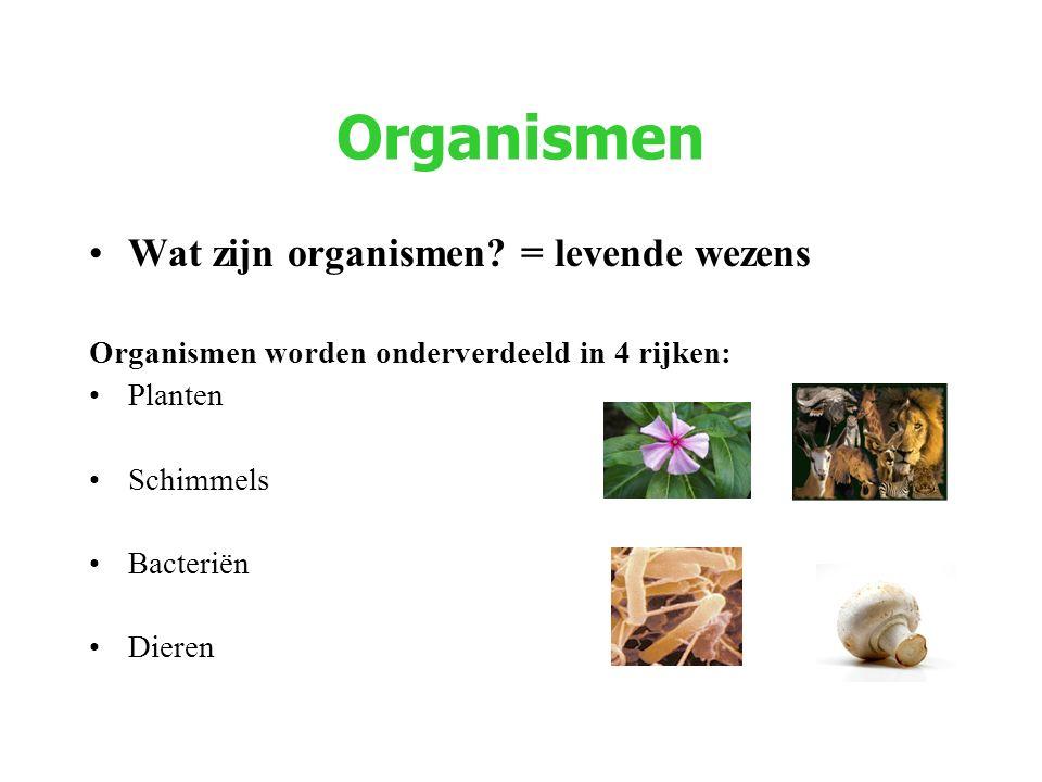 Organismen Wat zijn organismen = levende wezens