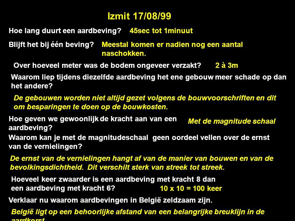Izmit 17/08/99 Hoe lang duurt een aardbeving 45sec tot 1minuut