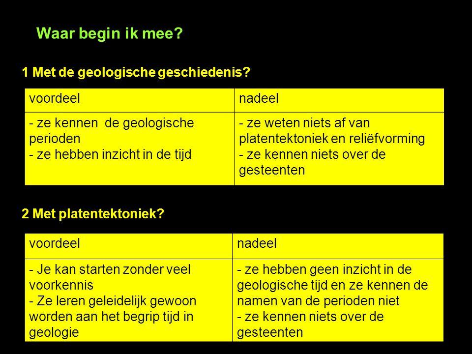 Waar begin ik mee 1 Met de geologische geschiedenis voordeel nadeel