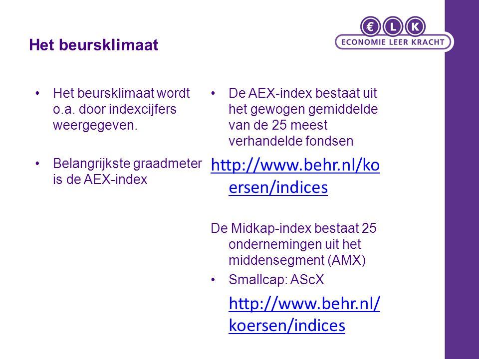 http://www.behr.nl/koersen/indices Het beursklimaat