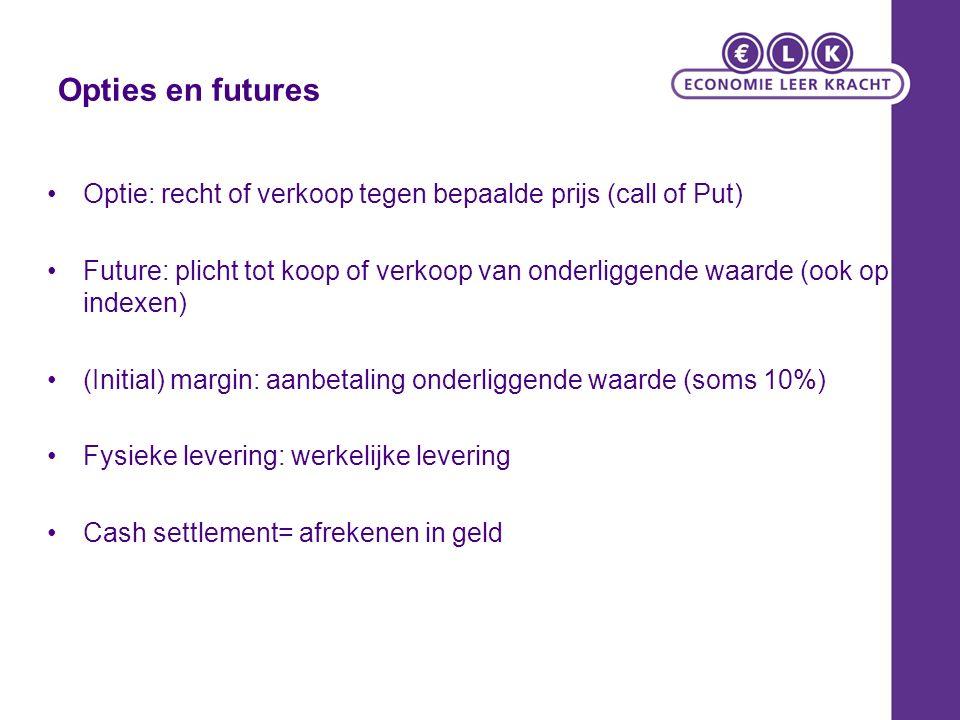 Opties en futures Optie: recht of verkoop tegen bepaalde prijs (call of Put)