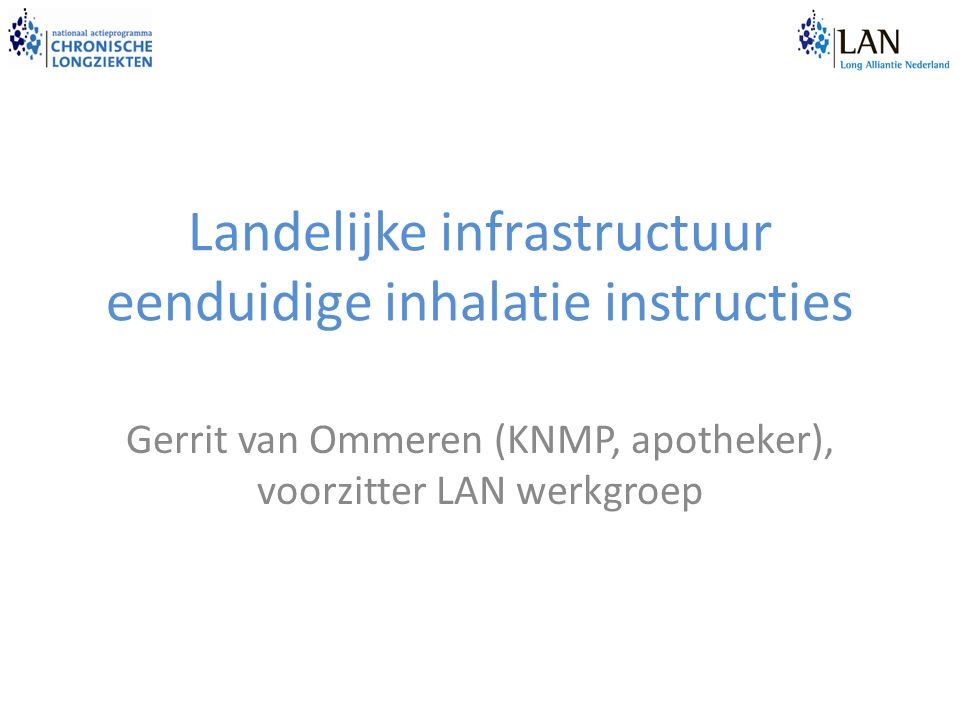 Landelijke infrastructuur eenduidige inhalatie instructies