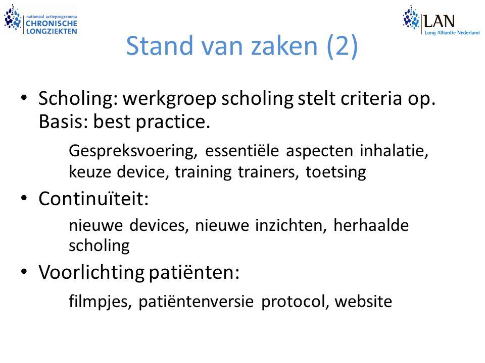 Stand van zaken (2) Scholing: werkgroep scholing stelt criteria op. Basis: best practice.