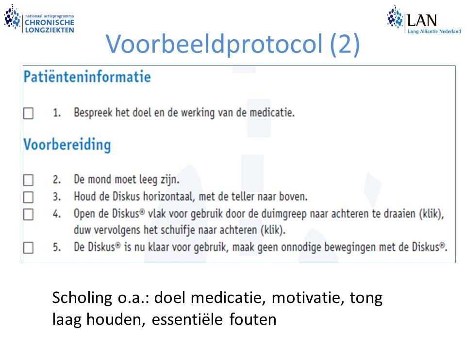 Voorbeeldprotocol (2) Scholing o.a.: doel medicatie, motivatie, tong laag houden, essentiële fouten