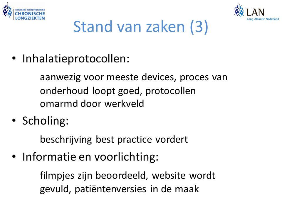 Stand van zaken (3) Inhalatieprotocollen: