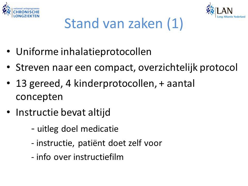 Stand van zaken (1) Uniforme inhalatieprotocollen