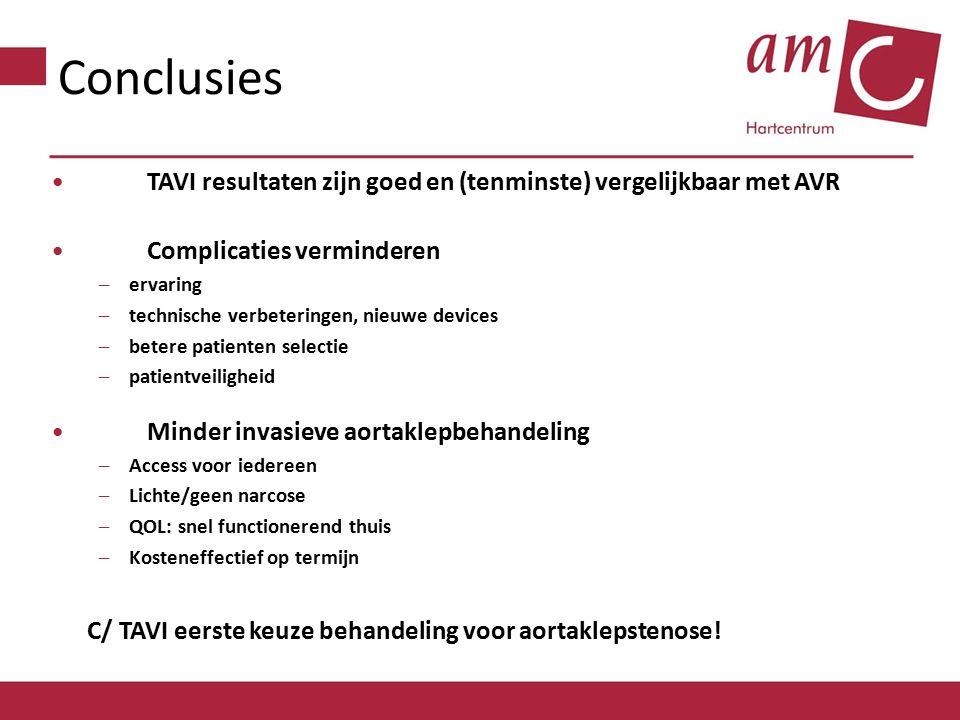Conclusies TAVI resultaten zijn goed en (tenminste) vergelijkbaar met AVR. Complicaties verminderen.