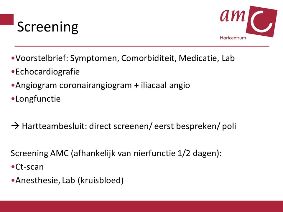 Screening Voorstelbrief: Symptomen, Comorbiditeit, Medicatie, Lab