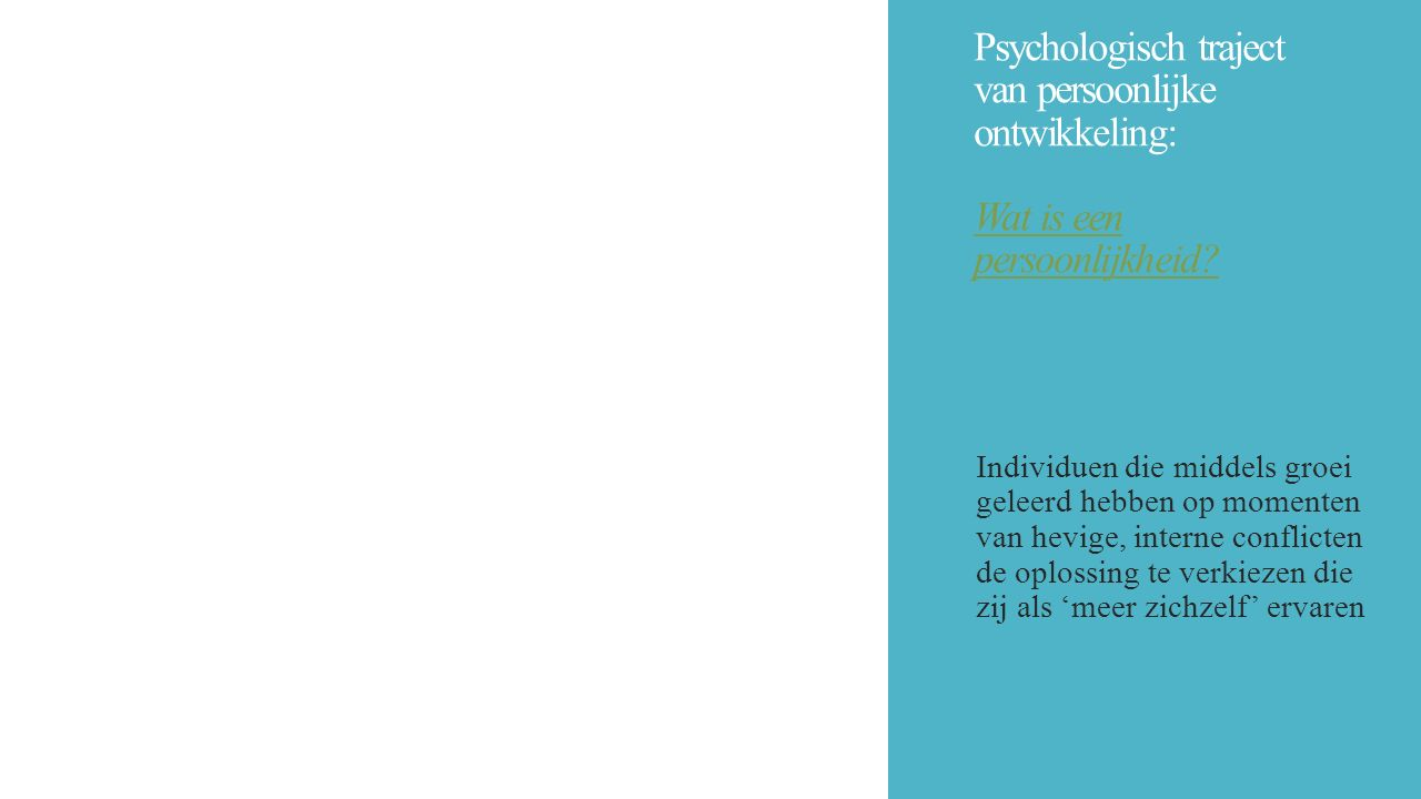 Psychologisch traject van persoonlijke ontwikkeling: Wat is een persoonlijkheid