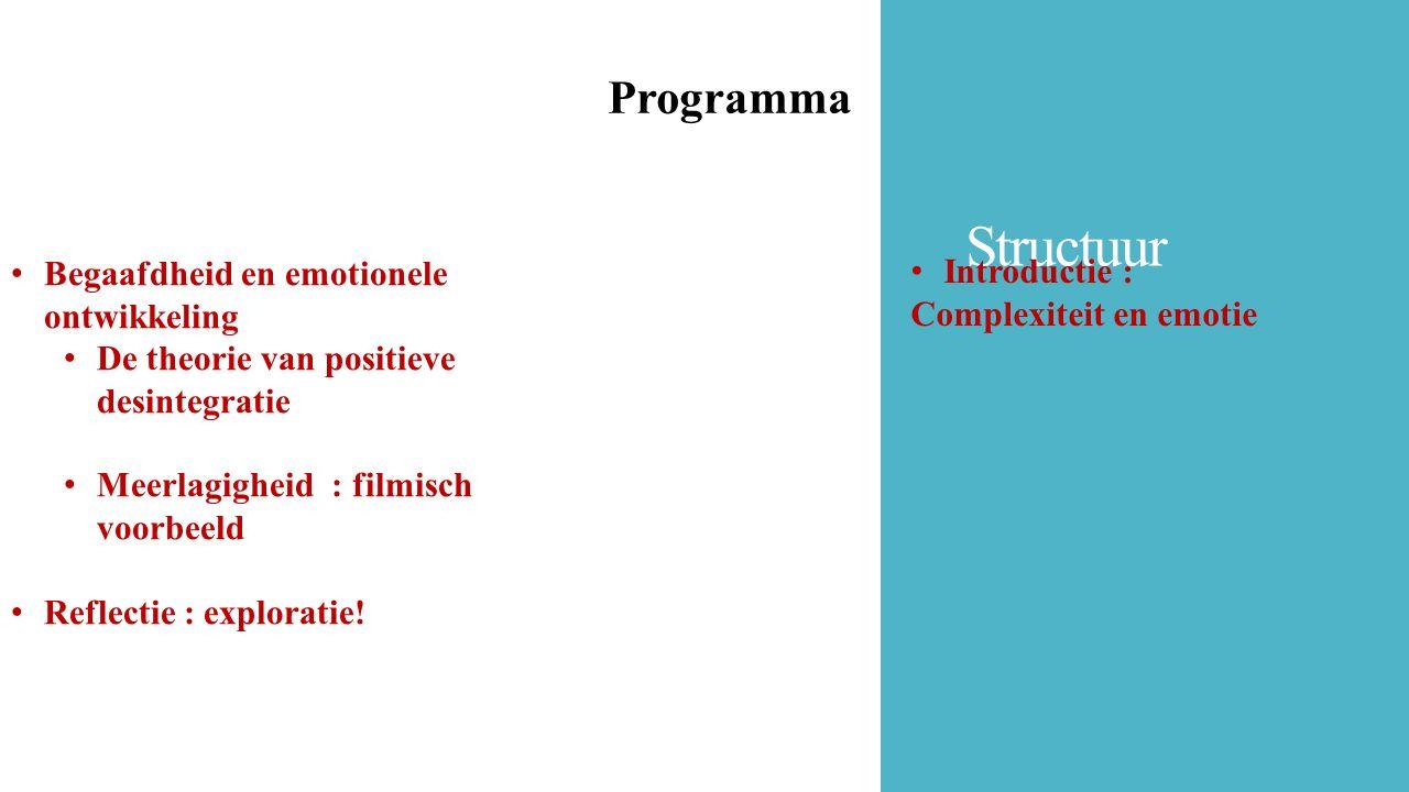 Structuur Programma Begaafdheid en emotionele ontwikkeling