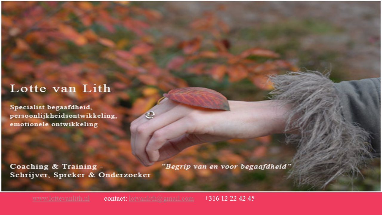 www.lottevanlith.nl contact: lotvanlith@gmail.com +316 12 22 42 45