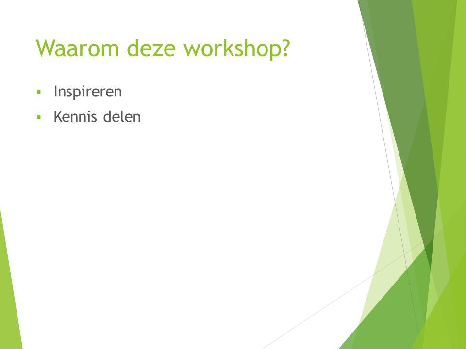 Waarom deze workshop Inspireren Kennis delen