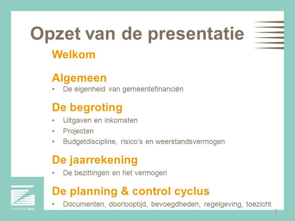 Opzet van de presentatie