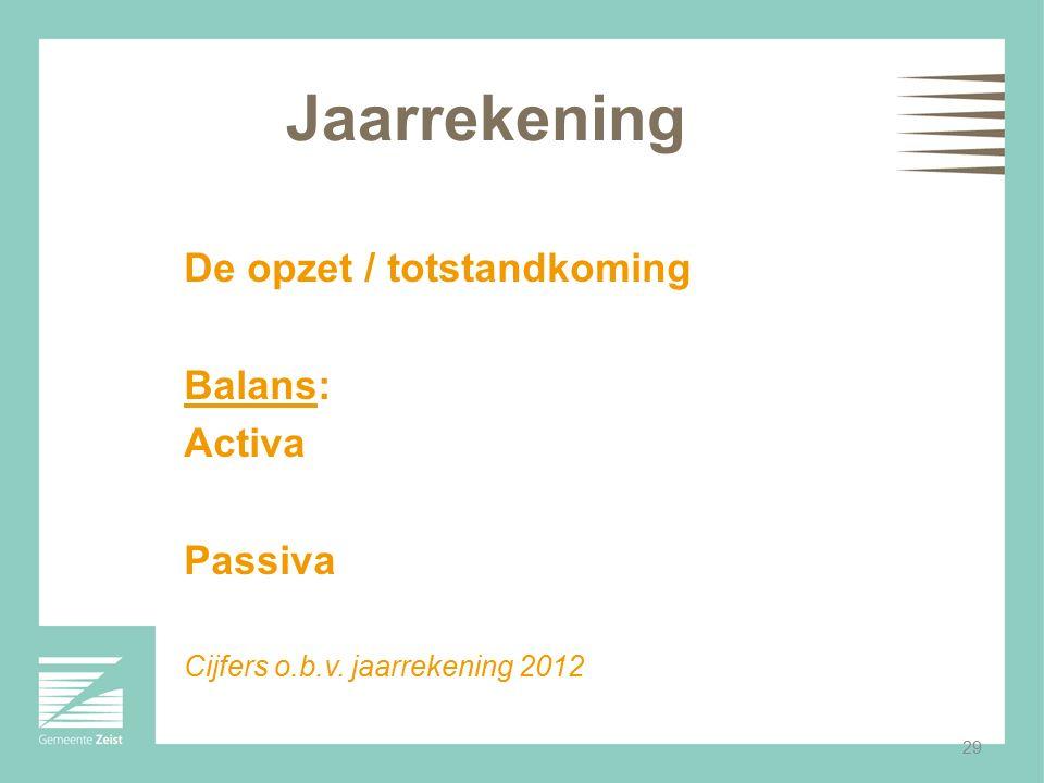 Jaarrekening De opzet / totstandkoming Balans: Activa Passiva