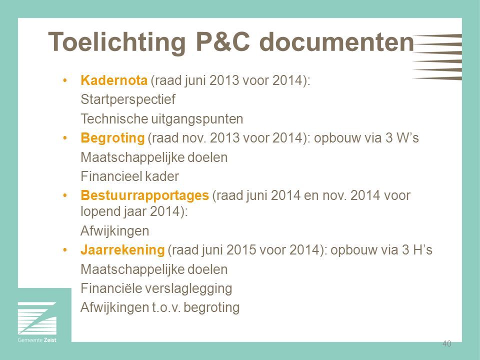 Toelichting P&C documenten