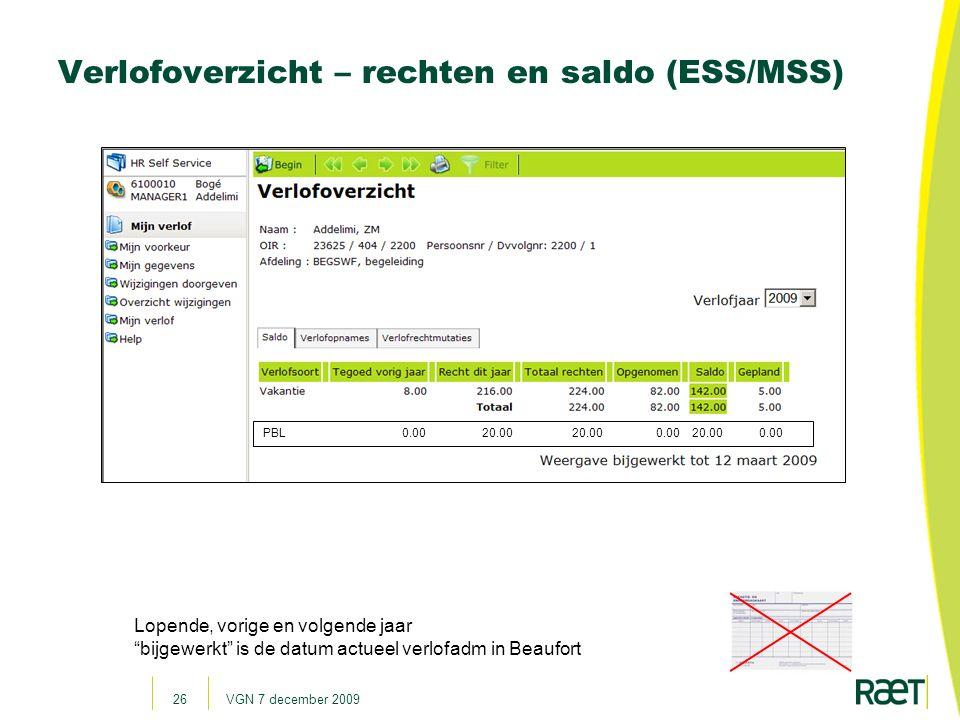 Verlofoverzicht – rechten en saldo (ESS/MSS)