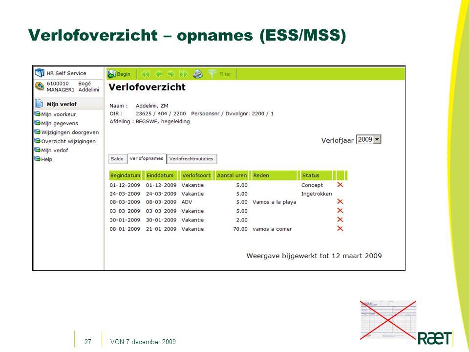 Verlofoverzicht – opnames (ESS/MSS)
