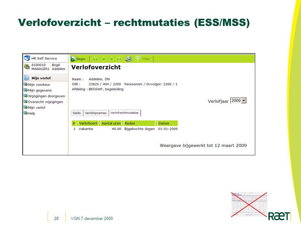 Verlofoverzicht – rechtmutaties (ESS/MSS)