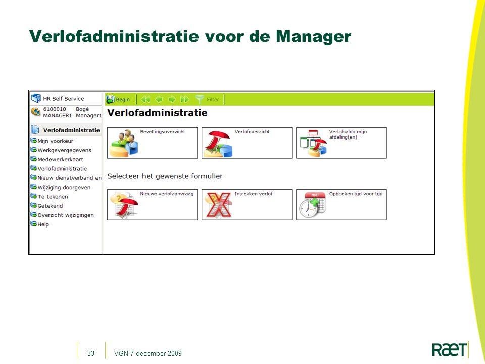 Verlofadministratie voor de Manager