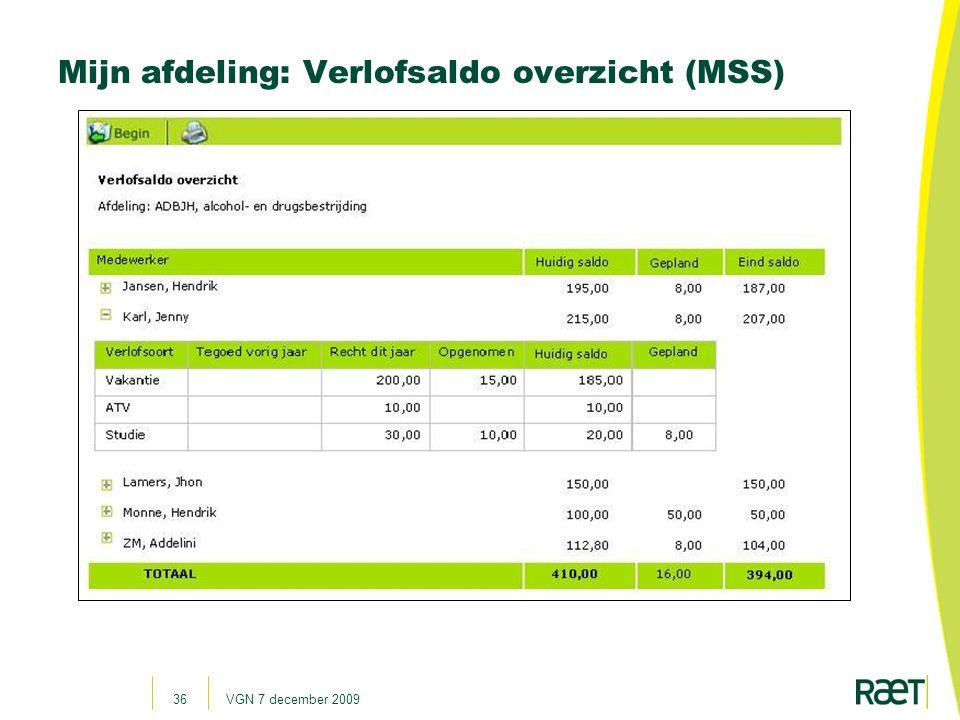 Mijn afdeling: Verlofsaldo overzicht (MSS)