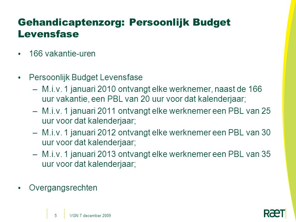 Gehandicaptenzorg: Persoonlijk Budget Levensfase