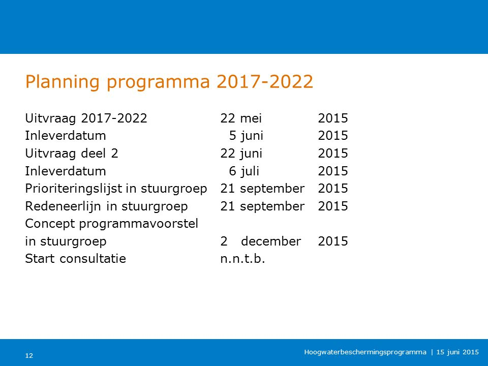 Planning programma 2017-2022