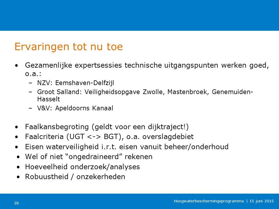 Ervaringen tot nu toe Gezamenlijke expertsessies technische uitgangspunten werken goed, o.a.: NZV: Eemshaven-Delfzijl.