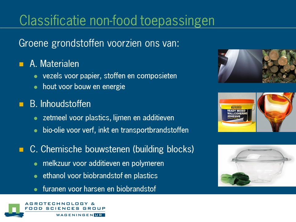 Classificatie non-food toepassingen