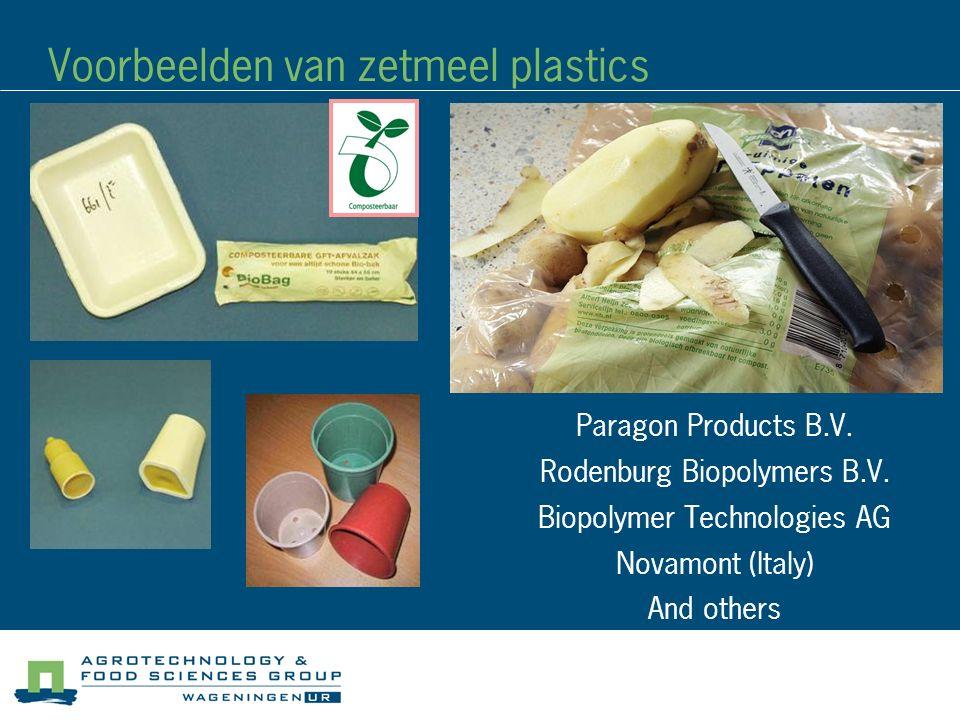 Voorbeelden van zetmeel plastics
