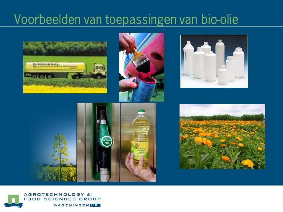 Voorbeelden van toepassingen van bio-olie