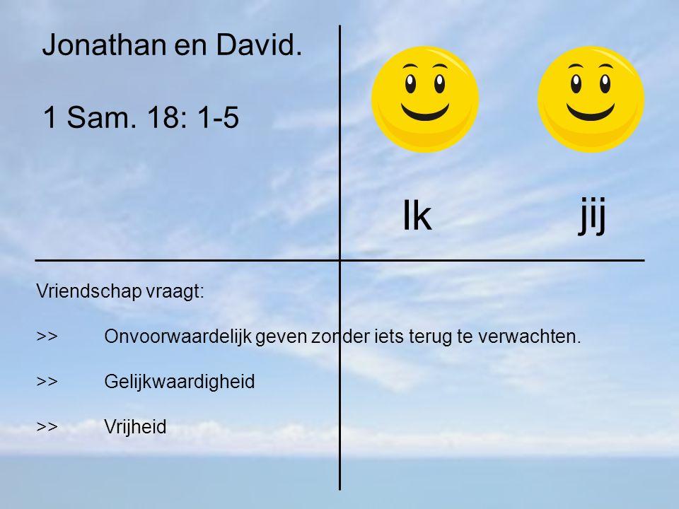 Ik jij Jonathan en David. 1 Sam. 18: 1-5