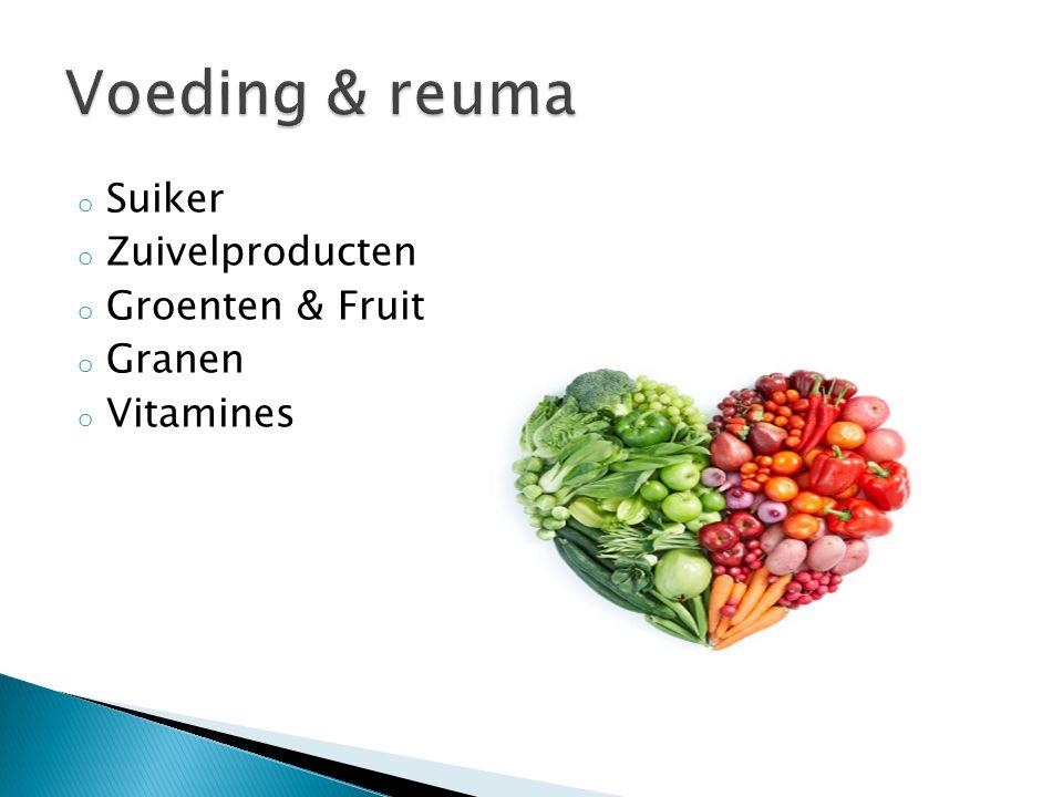 Voeding & reuma Suiker Zuivelproducten Groenten & Fruit Granen