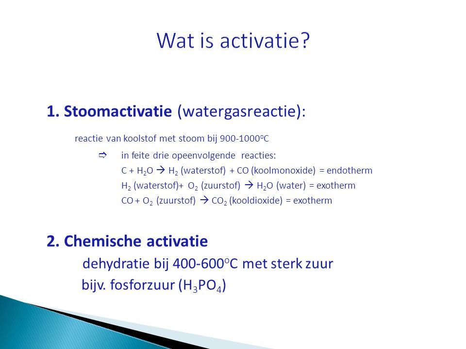 Wat is activatie reactie van koolstof met stoom bij 900-1000oC