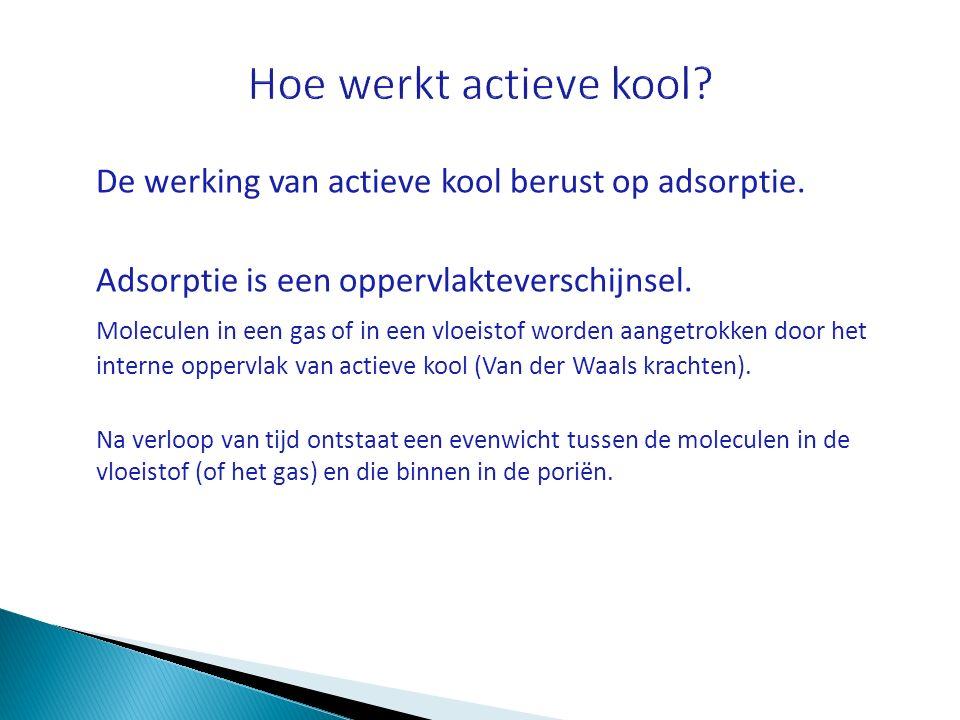 Hoe werkt actieve kool De werking van actieve kool berust op adsorptie. Adsorptie is een oppervlakteverschijnsel.
