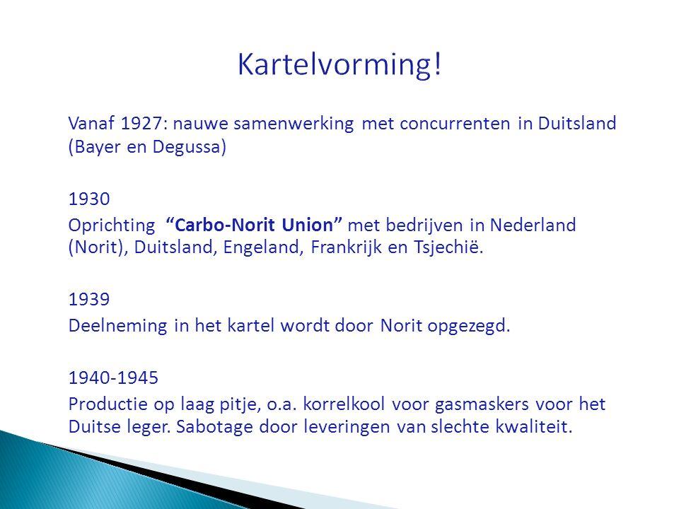 Kartelvorming! Vanaf 1927: nauwe samenwerking met concurrenten in Duitsland (Bayer en Degussa) 1930.