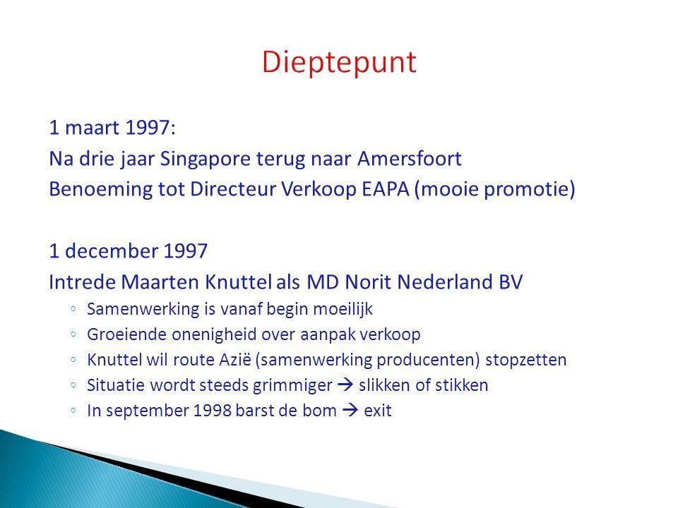 Dieptepunt 1 maart 1997: Na drie jaar Singapore terug naar Amersfoort