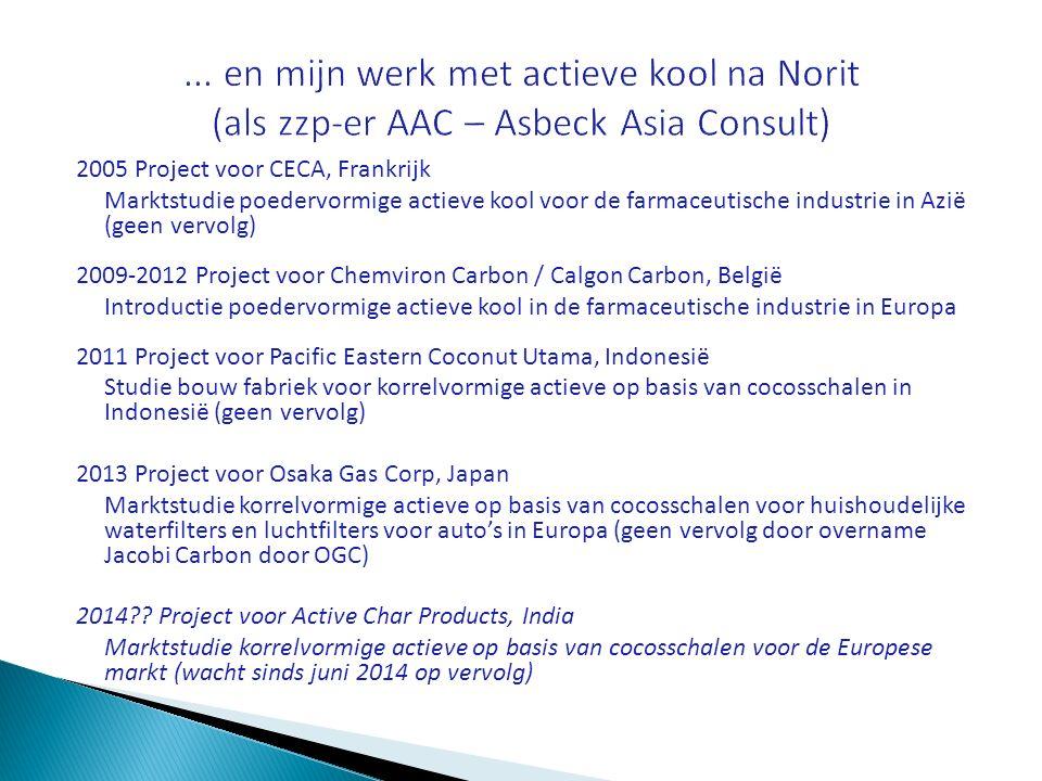 ... en mijn werk met actieve kool na Norit (als zzp-er AAC – Asbeck Asia Consult)