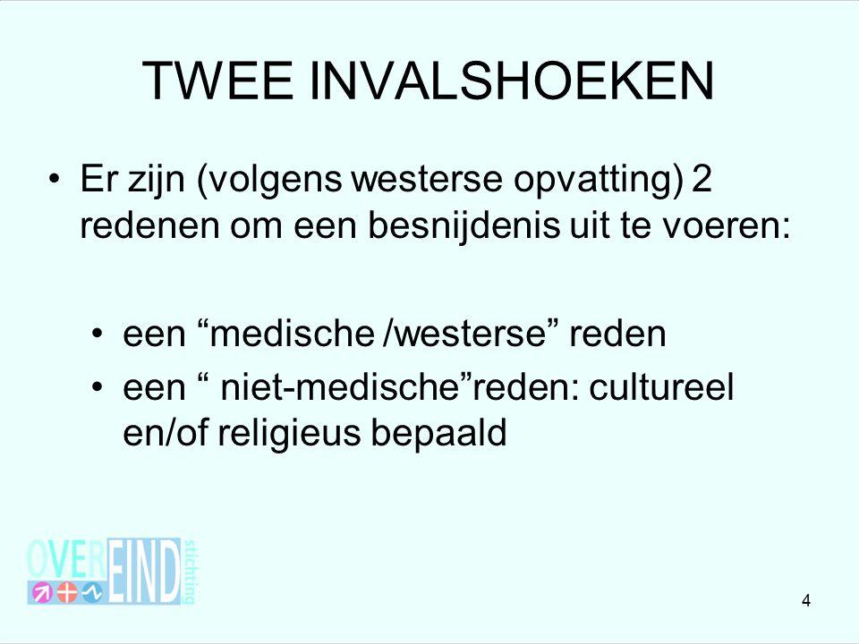 TWEE INVALSHOEKEN Er zijn (volgens westerse opvatting) 2 redenen om een besnijdenis uit te voeren: