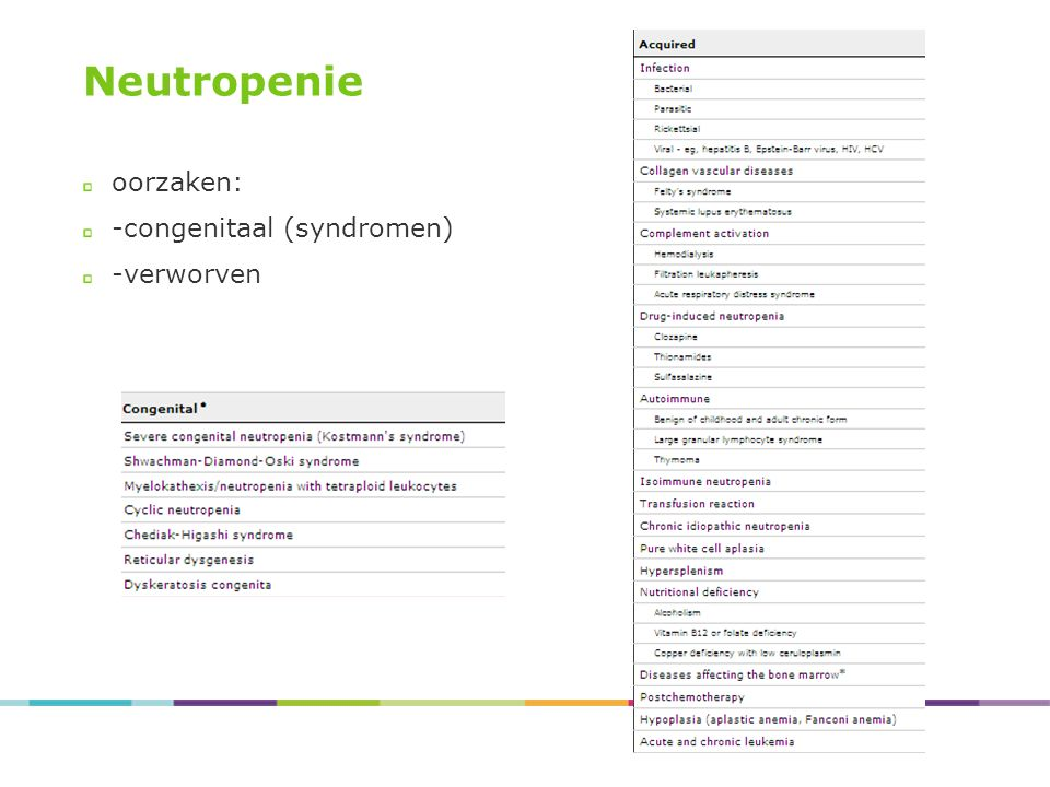 27/04/2017 Neutropenie oorzaken: -congenitaal (syndromen) -verworven