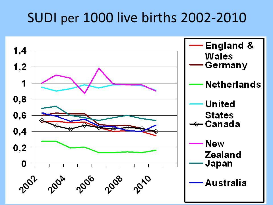 SUDI per 1000 live births 2002-2010