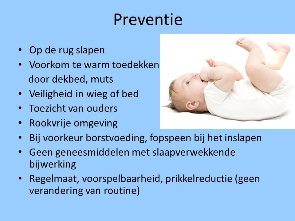 Preventie Op de rug slapen Voorkom te warm toedekken door dekbed, muts