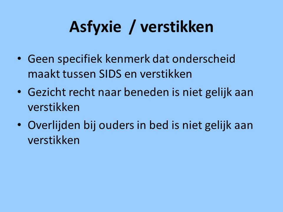 Asfyxie / verstikken Geen specifiek kenmerk dat onderscheid maakt tussen SIDS en verstikken.