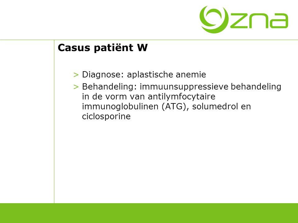 Bloedbeeld patiënt W Patiënt W Dag 0 Week 1 Maand 1 Maand 3 Maand 9