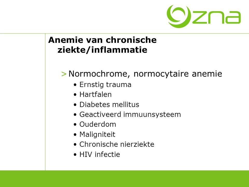 Anemie van chronische ziekte/inflammatie