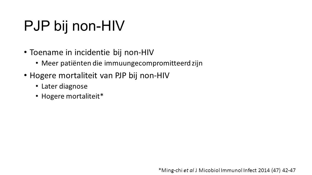 PJP bij non-HIV Toename in incidentie bij non-HIV
