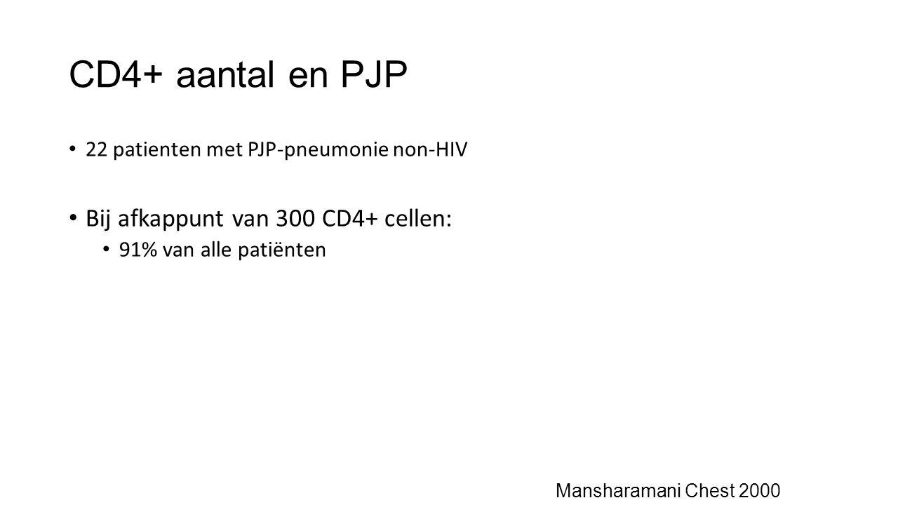 CD4+ aantal en PJP Bij afkappunt van 300 CD4+ cellen: